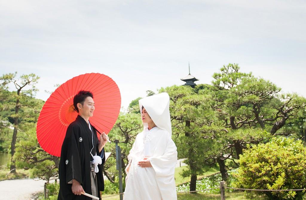 三溪園の日本庭園での前撮り
