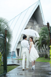 雨での結婚式