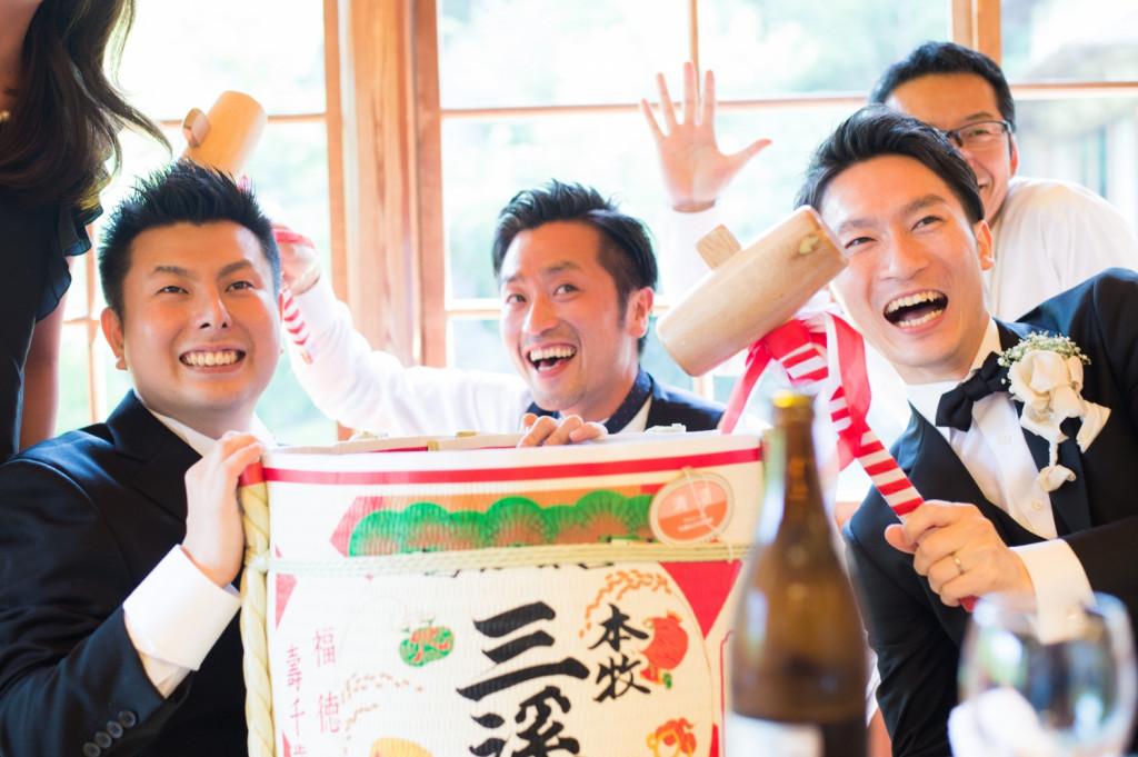 三渓園の結婚式 樽酒の演出
