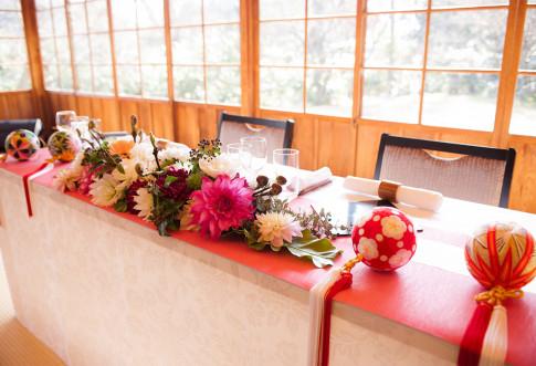 冬の三渓園の結婚式 ウエルカムスペース